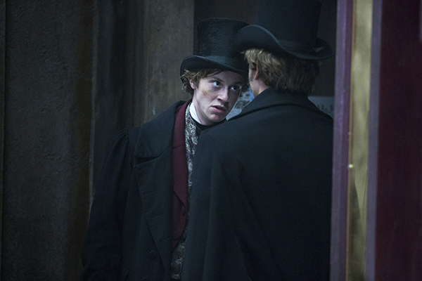 Arthur Havisham (Joseph Quinn) argues with Meriwether Compeyson (Tom Weston-Jones)