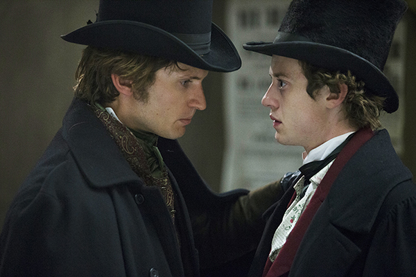 Compeyson Meriwether (Tom Weston-Jones) talking with Arthur Havisham (Joseph Quinn)