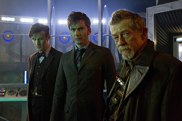 Matt Smith, David Tennant and John Hurt as the three Doctor Who together in the Tardis