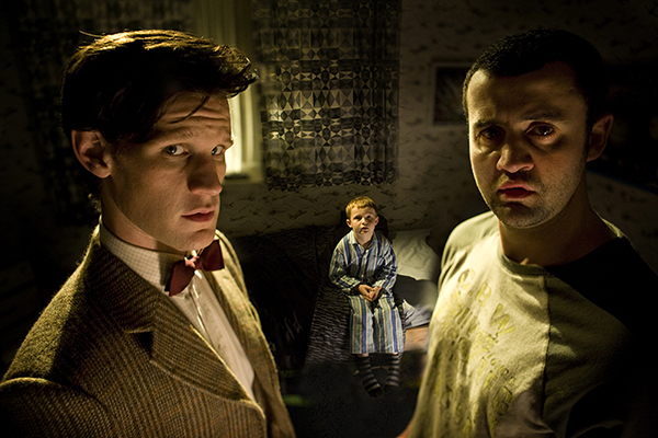 The Doctor (Matt Smith) with Alex (Daniel Mays) and George (Jamie Oram)