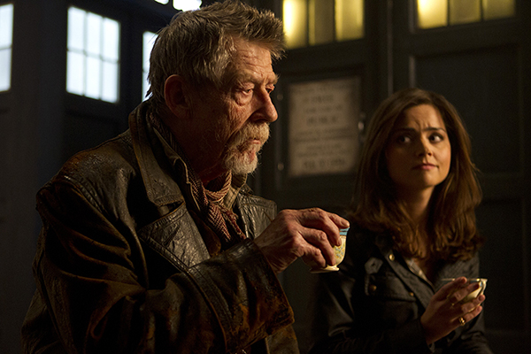 The Doctor (John Hurt) and Clara (Jenna Coleman) drink tea