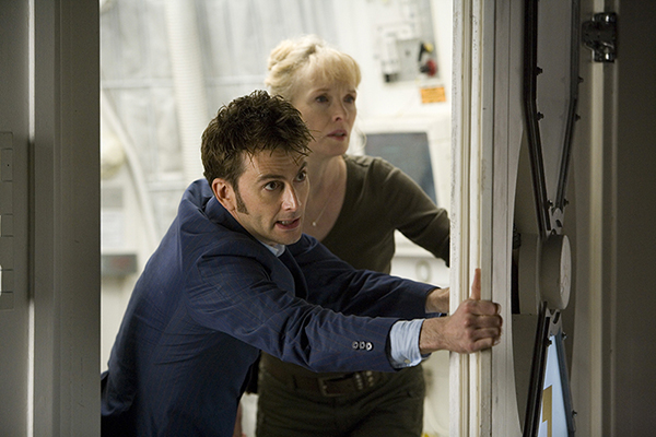 The Dr (David Tennant) and Adelaide Brooke (Lindsay Duncan) close watertight door to escape