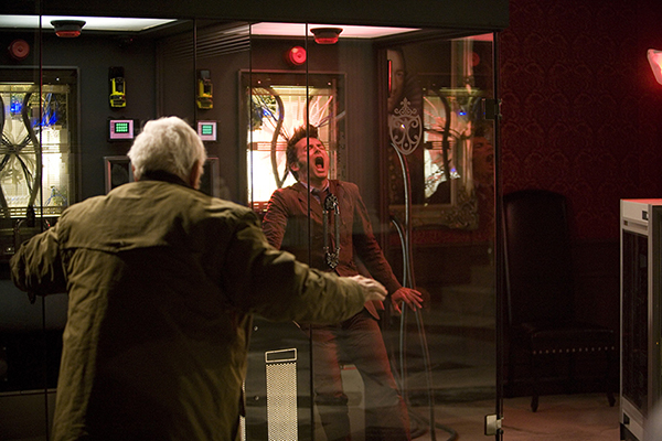 The Doctor (David Tennant) saves Wilfred Mott (Bernard Cribbins)