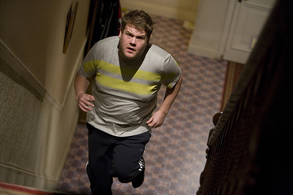 Craig (James Corden) runs upstairs in Doctor Who episode The Lodger