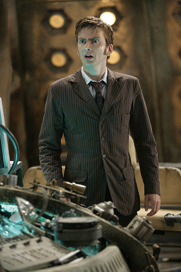 film still photograph of David Tennant's Doctor standing in Tardis