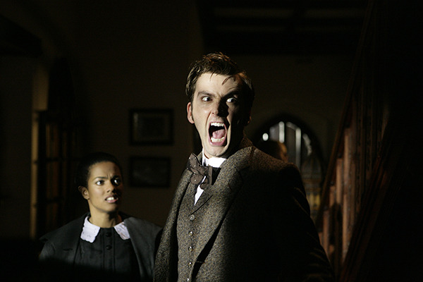 film still of Freema Agyeman and David Tennant