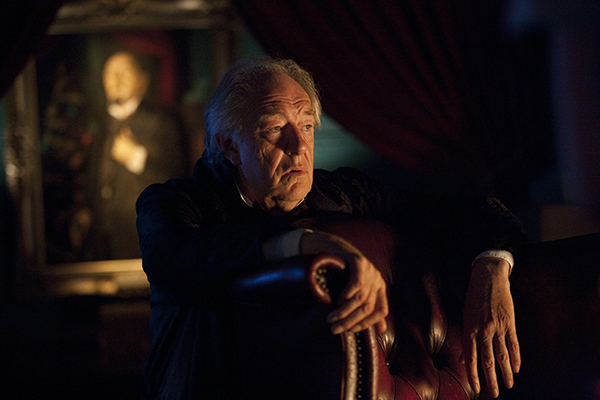 unit production still of Michael Gambon as Kazran Sardick in the Doctor Who episode A Christmas Carol