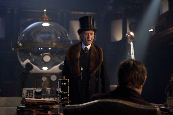 unit film still of Richard E grant as Simion in Doctor Who's The Snowmen